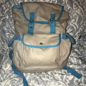 Grey and blue backpack